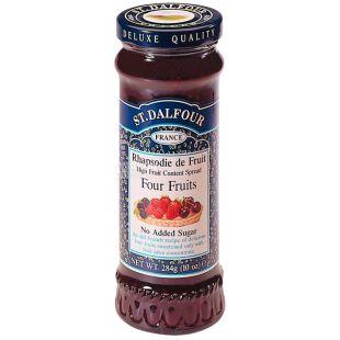 St. Dalfour, 284 г, Джем, Чотири ягоди, Без цукру, скло