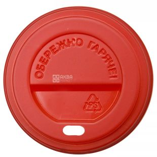 Cover for a disposable glass of 250 ml, Red, 50 pieces, D75