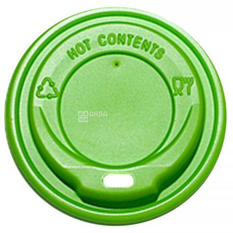 Крышка для одноразового стакана 175-180 мл, зеленая, 50 шт, D69