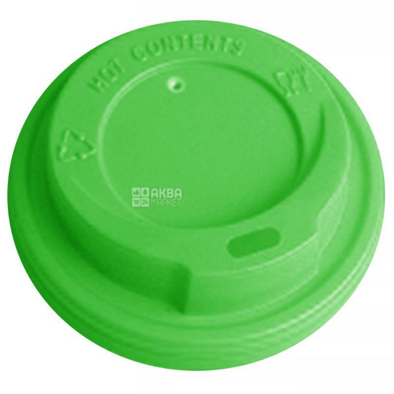 Кришка для одноразового стакана 175-180 мл, зелена, 50 шт, D69