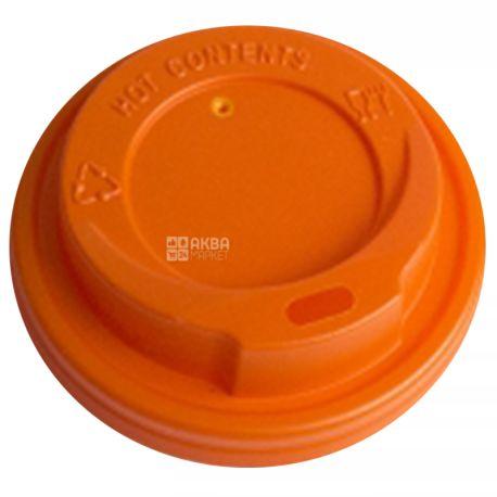 Крышка для одноразового стакана 250 мл, Оранжевая, 50 шт, D75