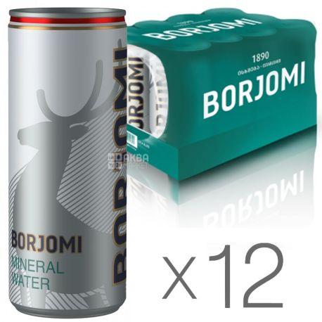 Borjomi, Упаковка 12 шт. по 0,33 л, Вода сильногазированная, Минеральная, ж/б