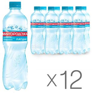 Миргородська, Упаковка 12 шт. по 0,5 л, Вода слабогазована, Мінеральна, Лагідна, ПЕТ
