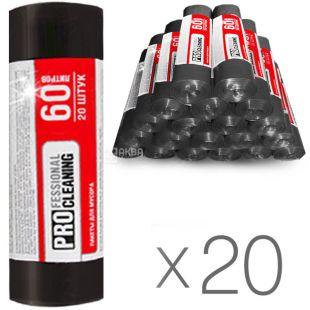 Professional Cleaning, Упаковка 20 шт. по 20 шт., 60 л, Пакети для сміття, Чорні, м/у