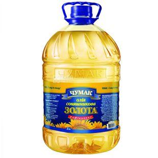 Чумак, 5л, Масло подсолнечное, Рафинированное, Золотое, ПЭТ