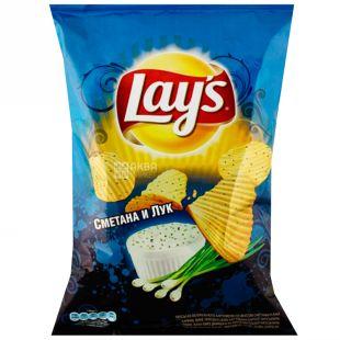 Lay's, 133 г, Чипси картопляні, Сметана та цибуля, Рифлені