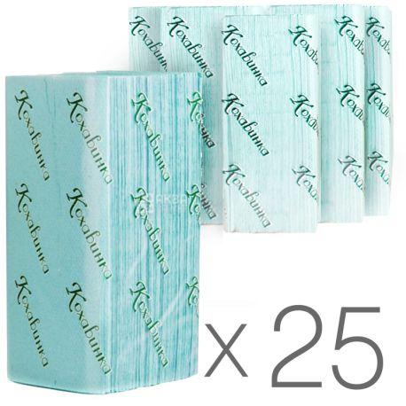 Кохавинка, 25 упаковок по 170 аркушів, Паперові рушники, одношарові, Z-складання, 23х25 см