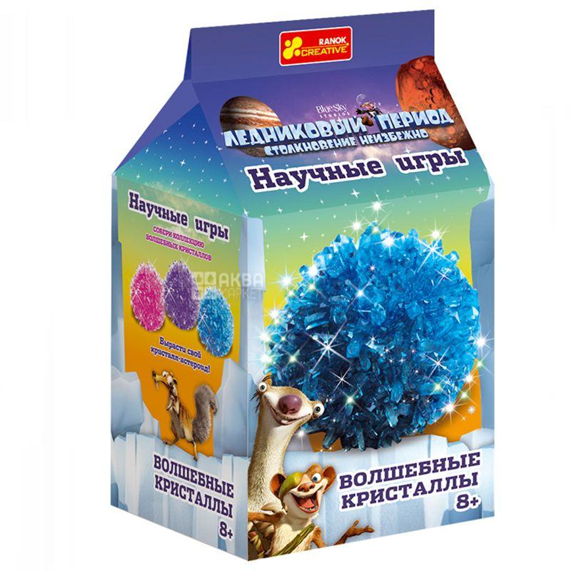 Ранок, Набор для экспериментов, Волшебные кристаллы, Ледниковый период, Синий, картон
