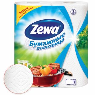 Zewa, 2 rolls, paper towels, Double-layer, White, m / s