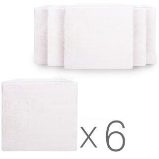 Барні серветки, 6 упаковок по 500 шт., Одношарові, міцні, 22х22 см, білі