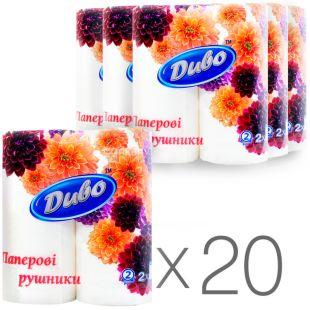 Диво, 20 упаковок по 2 рул., Бумажные полотенца, 2-х слойные, 23х25 см