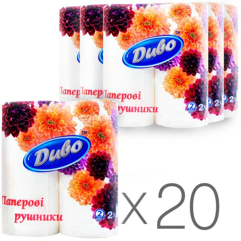 Диво, 20 упаковок по 2 рул., Паперові рушники, 2-шарові, 23х25 см