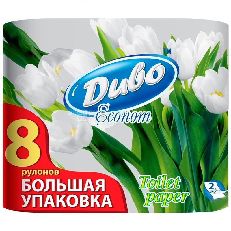 Диво Econom, Упаковка 12 шт. по 8 рул., Туалетная бумага, Эконом, 2-х слойная