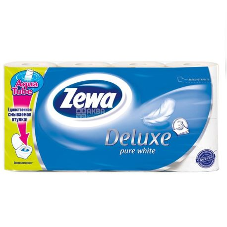 Zewa Deluxe Delicate Care, Упаковка 7 шт. по 8 рул., Туалетная бумага Зева Делюкс, Деликатная Забота, 3-х слойная