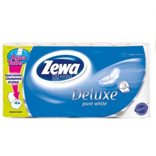 Zewa, Packing 7 pcs. on 8 rolls, Toilet paper, Deluxe, White, m / y