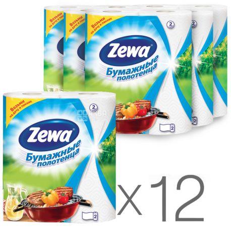 Zewa, 12 упаковок по 2 рул., Бумажные полотенца Зева, 2-х слойные, 56 отрывов, 14 м