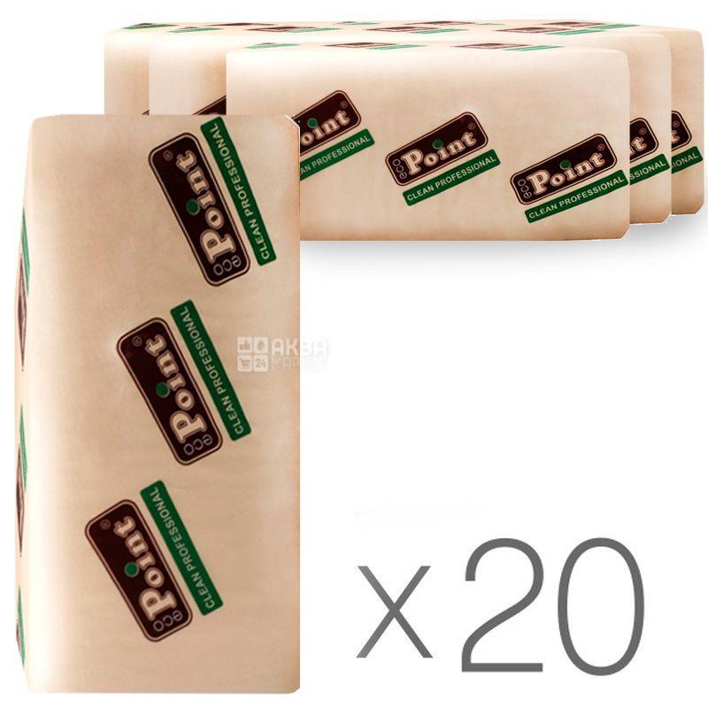 Mirus, Eco point, 20 упаковок по 160 листов, Бумажные полотенца Мирус, 2-х слойные, V-сложения, белые, 21х20 см
