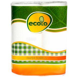 Ecolo, Paper towels, 16 упаковок по 2 рул., Бумажные полотенца Эколо, 2-х слойные