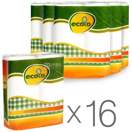 Ecolo Бумажные полотенца, Упаковка 16 шт. по 2 рулона, Двухслойные, Белые