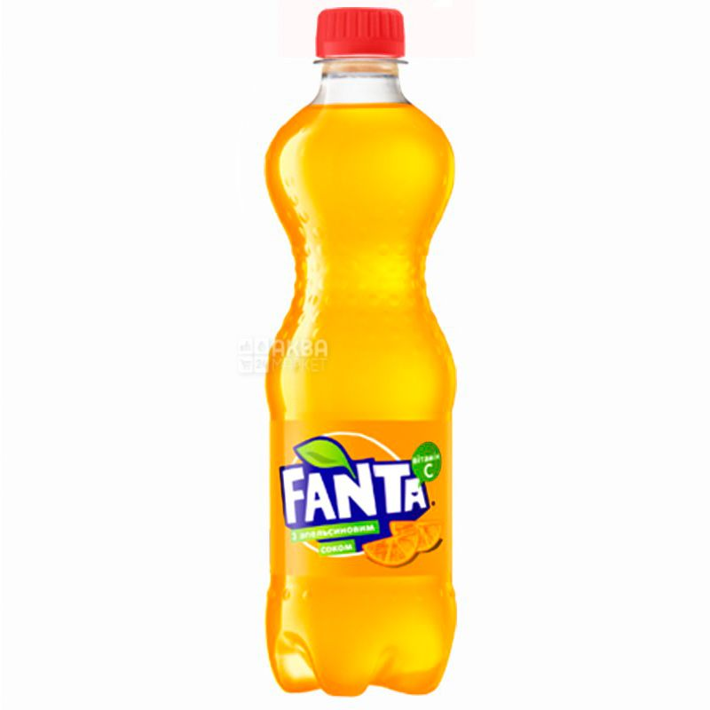Fanta, Апельсин, Упаковка 12 шт. по 0,5 л, Фанта, Вода солодка, з натуральним соком, ПЕТ