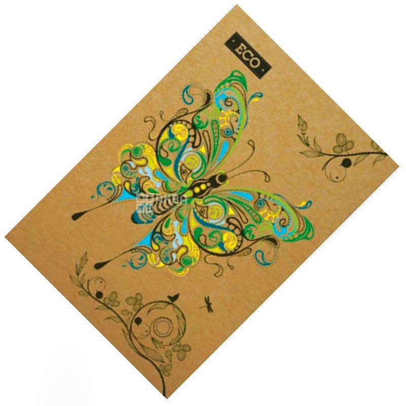 Mizar+, 96 листов, А5, Блокнот, ECO, Бабочки, Клетка