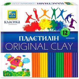Луч, 12 кольорів, 240 г, Пластилін, Класика, картон