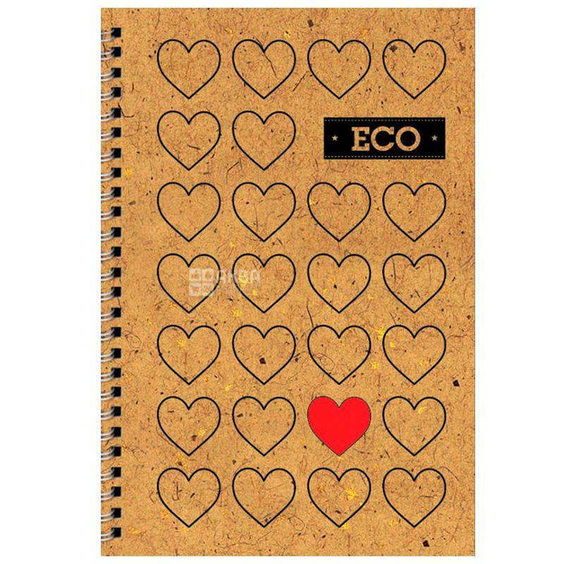 Mizar+ Eco, Блокнот на пружине Сердца, 80 листов, А6, Клетка
