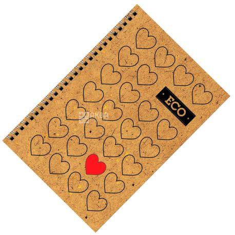 Mizar+, 80 аркушів, А6, Блокнот, ECO, Серця, Пружина, Клітинка