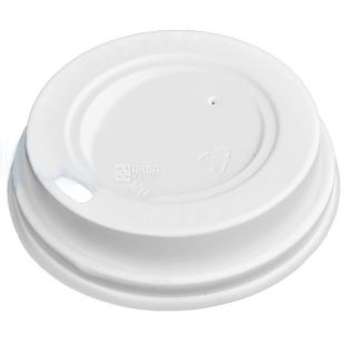 Cover for a disposable glass of 250 ml, White, 50 pieces, D80