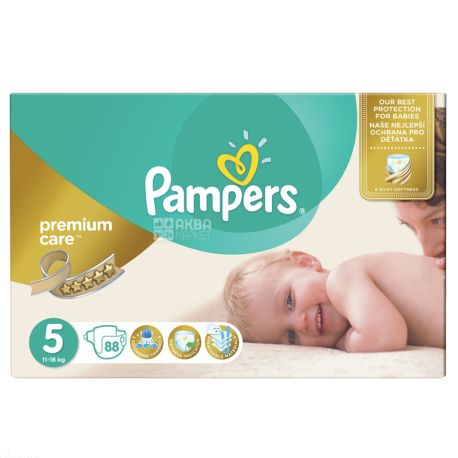 Pampers Premium Care, 88 шт., Памперс, Підгузки-трусики, Розмір 5, 11-18 кг