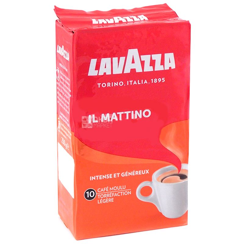 Lavazza, il Mattino, 250 г, Кофе Лавацца, Ил Маттино, темной обжарки, молотый