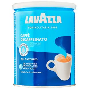 Lavazza, Dekafinato, 250 г, Кофе Лавацца, Декафинато, средней обжарки, без кофеина, молотый, ж/б