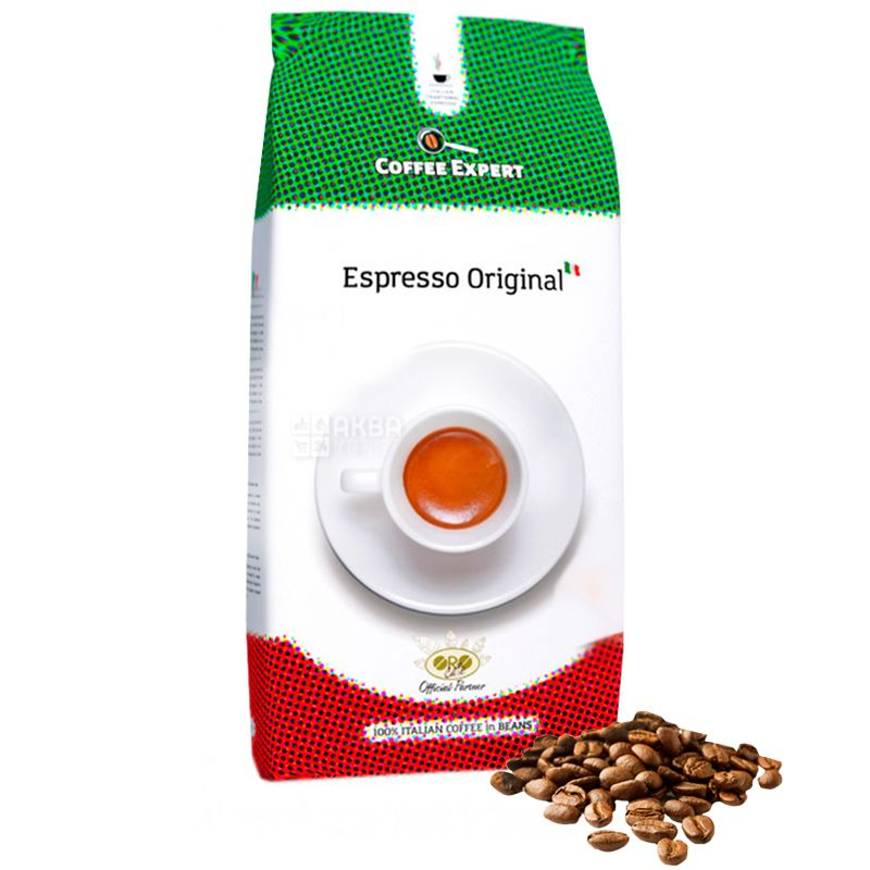 Coffee Expert Espresso Original, 1 кг, Кофе Эксперт Эспрессо Ориджинал, средней обжарки, в зернах