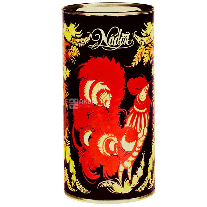 Nadin, Червона Рута, 100 г, Чай Надин, черный с шафраном и лепестками розы, тубус