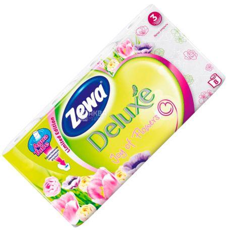 Zewa Deluxe Joy of Flowers, 8 рул, Туалетний папір Зева Делюкс Джой оф Флауес, 3-х шаровий