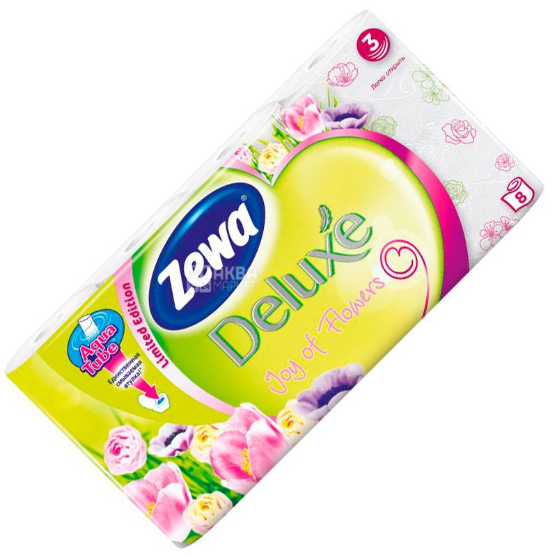 Zewa Deluxe Joy of Flowers, 8 rolls, toilet paper