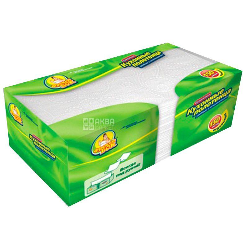 Фрекен Бок, 150 листов, Бумажные полотенца, Листовые, Двухслойные, Белые, картон