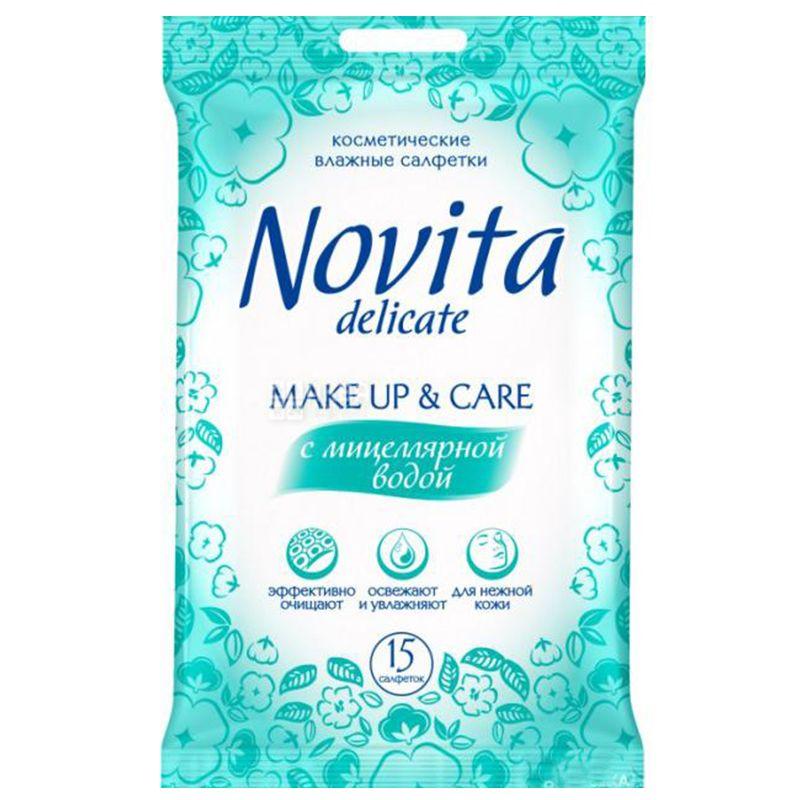 Novita, 15 шт., Серветки для зняття макіяжу Новіта, Вологі, З міцелярною водою, для догляду за шкірою