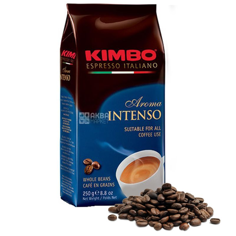 Kimbo Aroma Intenso, 250 г, Кофе Кимбо Арома Интенсо, средней обжарки, в зернах