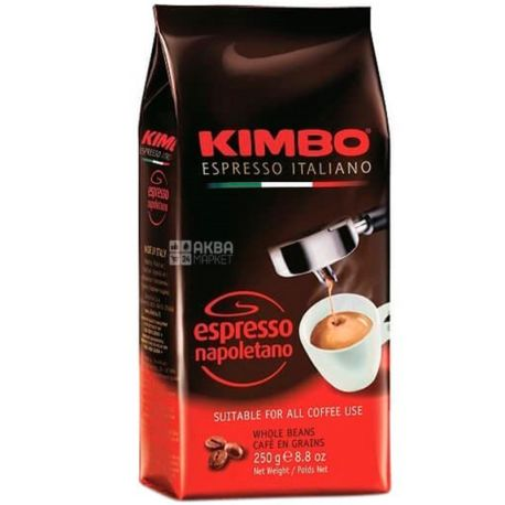 Kimbo Espresso Napoletano, 250 г, Кава Кімбо Еспрессо Наполетано, темного обсмаження, в зернах
