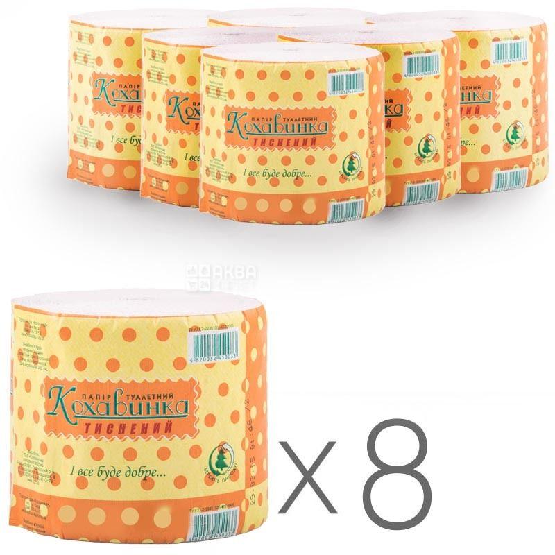 Кохавинка, 8 рул., Туалетний папір, Антисептичний, 1-шаровий
