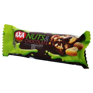 AXA, 25 g, Bar-muesli, Nuts and milk chocolate