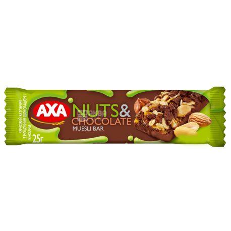 АХА, 25 г, Батончик зерновой Акса с молочным шоколадом и орехами