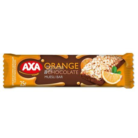 АХА, 25 г, Батончик-мюслі, Апельсин та чорний шоколад