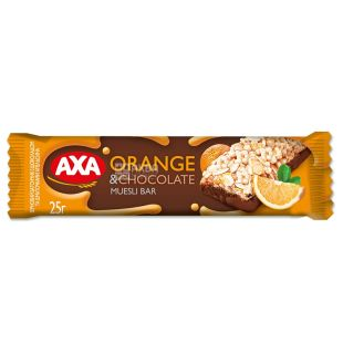 AXA, 25 g, Bar-muesli, Orange and dark chocolate