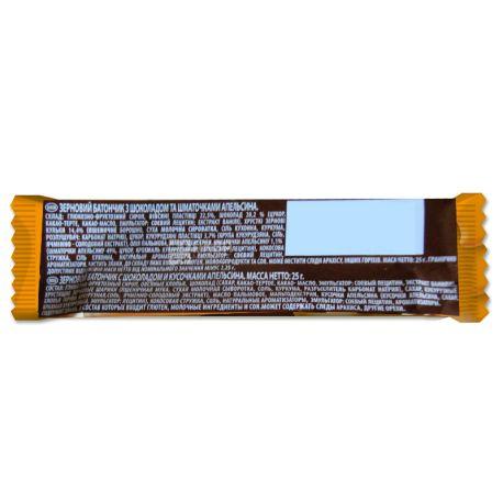 АХА, 25 г, Батончик-мюсли, Апельсин и черный шоколад