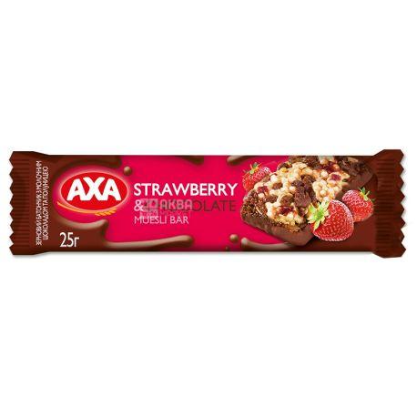 АХА, 25 г, Батончик-мюсли, Клубника и молочный шоколад