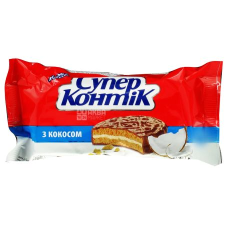 Konti, 100 г, Печиво-сендвіч, Супер-контік, З кокосом