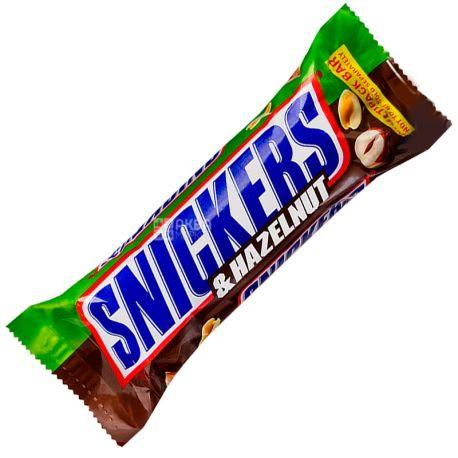 Snickers, 49 г, Батончик шоколадний, З лісовим горіхом