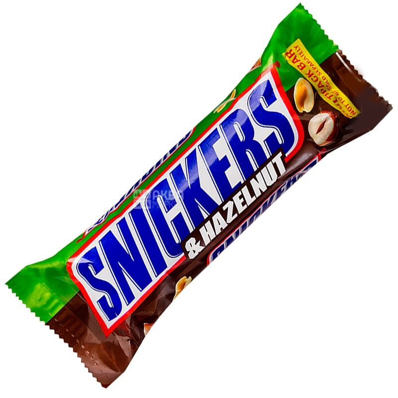 Snickers, 49 г, Батончик шоколадный, С лесным орехом